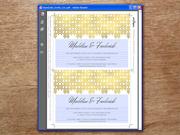 Printable Wedding Invitation - Glamorous Gold