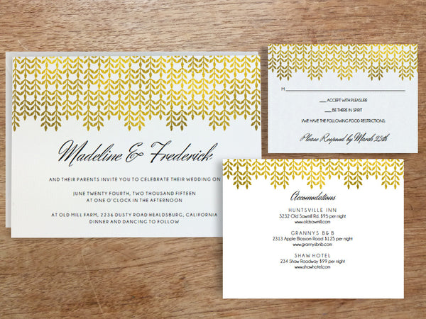 Printable Wedding Invitation Set - Glamorous Gold