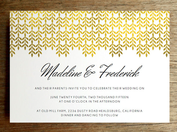 Printable Wedding Invitation - Glam Gold