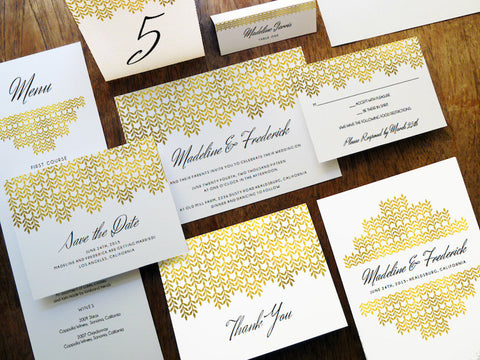 Printable Wedding Invitation Set Glamorous Gold empapers