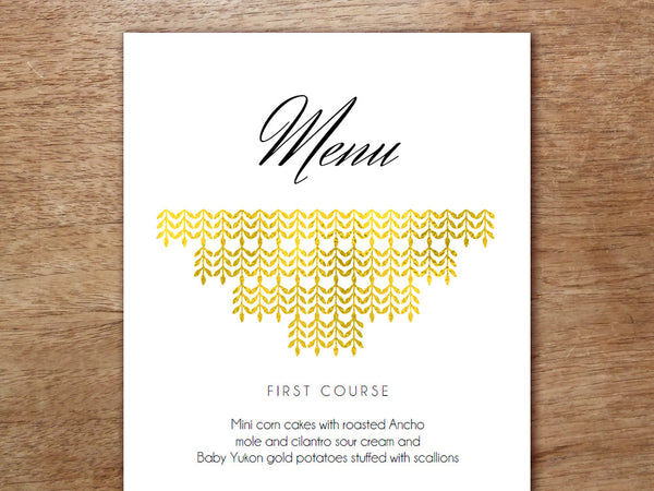 Printable Wedding Menu - Glamorous Gold