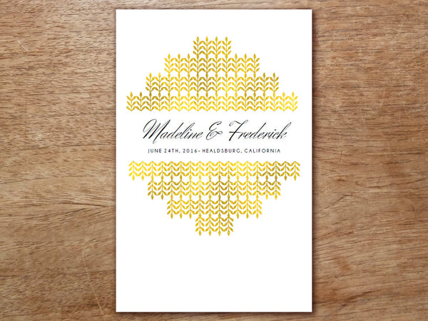 Printable Wedding Program - Glamorous Gold