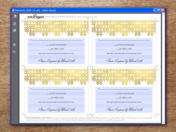 Printable Wedding RSVP Card - Glamorous Gold