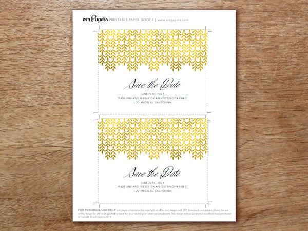 Printable Save the Date - Glamorous Gold