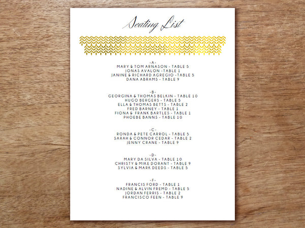 Printable Wedding Seating Sign - Glamorous Gold