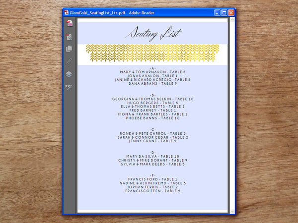 Printable Wedding Seating List - Glamorous Gold