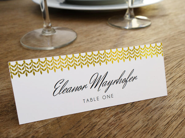 Printable Wedding Place Card - Glamorous Gold