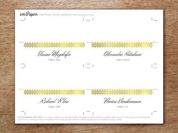 Printable Place Card - Glamorous Gold