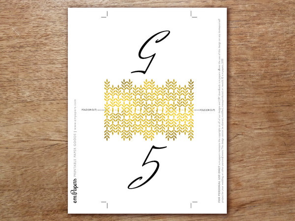 Printable Table Number - Glamorous Gold