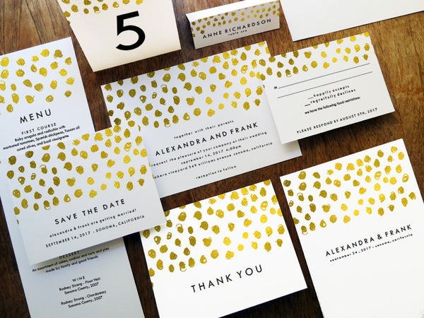 Printable Wedding Invitation Kit - Gold Dots - Gold Confetti