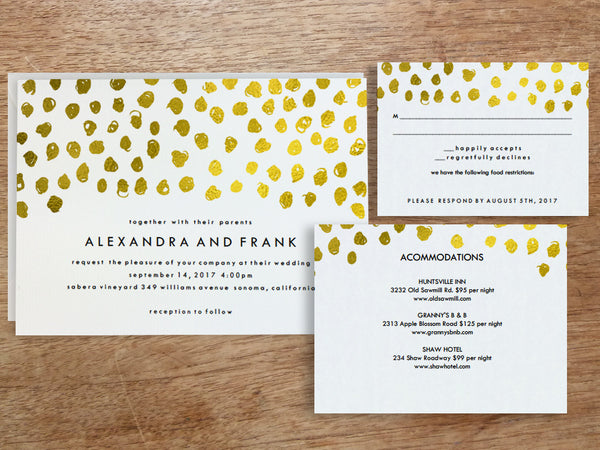 Printable Wedding Invitation Set - Gold Dots - Gold Confetti