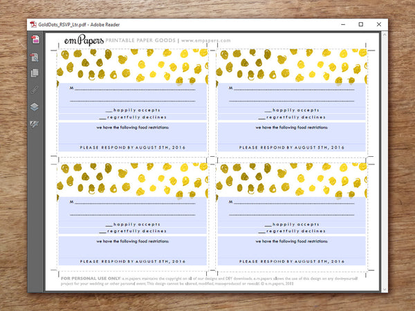 Printable Wedding RSVP Card Template - Gold Dots - Gold Confetti