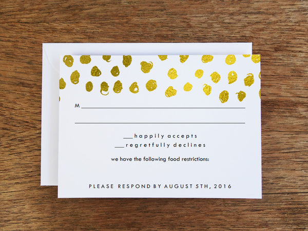 Printable Wedding RSVP Card - Gold Dots - Gold Confetti