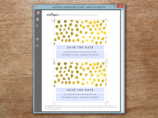 Printable Wedding Save the Date Template - Gold Dots - Gold Confetti