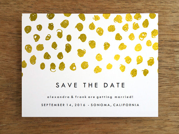 Printable Wedding Save the Date - Gold Dots - Gold Confetti