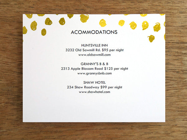 Printable Wedding Information Card - Gold Dots - Gold Confetti