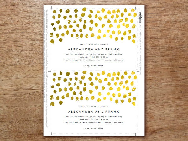 Printable Wedding Invitation - Gold Dots