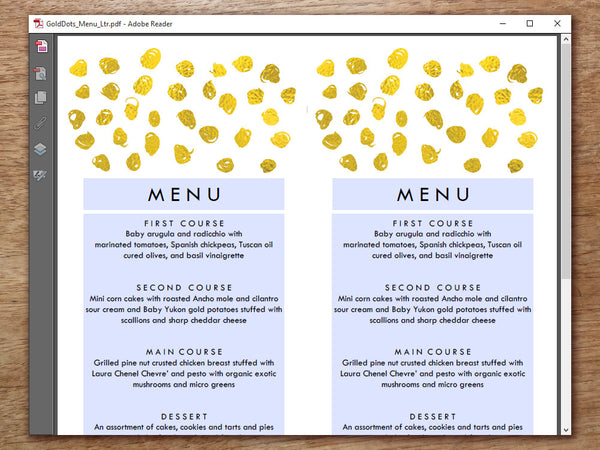 Printable Wedding Menu Template - Gold Dots - Gold Confetti