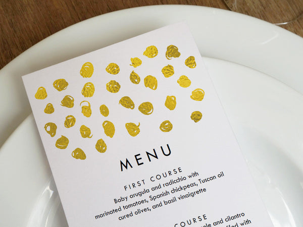 Printable Wedding Menu - Gold Dots - Gold Confetti