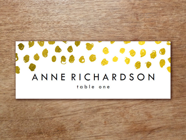Printable Place Card - Gold Dots