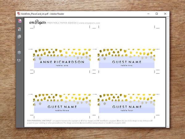 Printable Wedding Place Card Template - Gold Dots - Gold Confetti