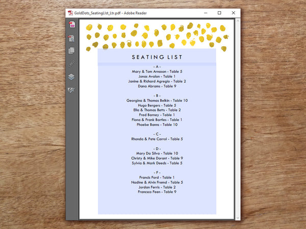 Printable Wedding Seating List - Gold Dots - Gold Confetti
