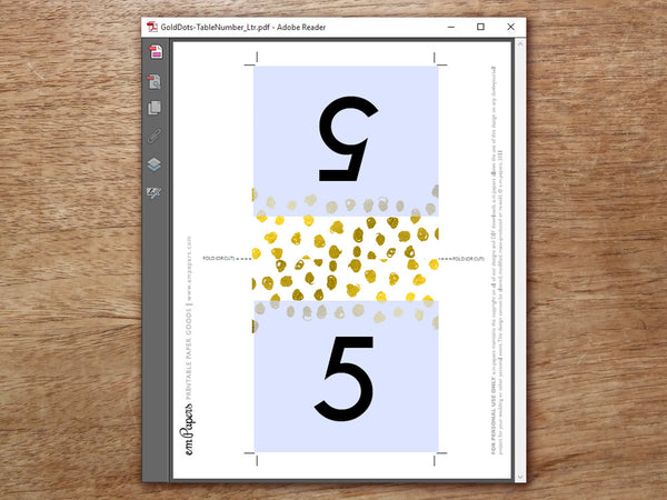 Printable Wedding Table Number Template - Gold Dots - Gold Confetti