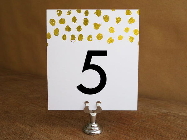 Printable Wedding Table Number - Gold Dots - Gold Confetti