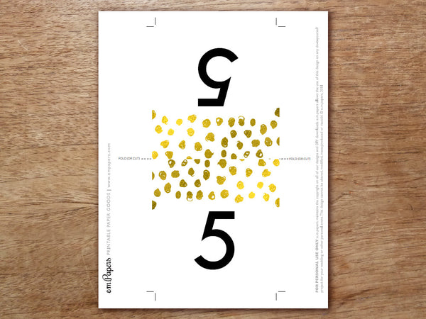Printable Table Number - Gold Dots