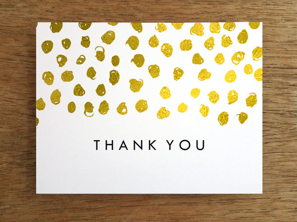 Printable Thank You Card - Gold Dots - Gold Confetti