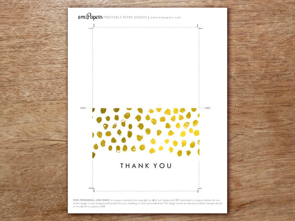 Printable Thank You Card - Gold Dots