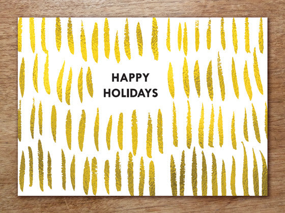 Printable Christmas Card - Gold Strokes