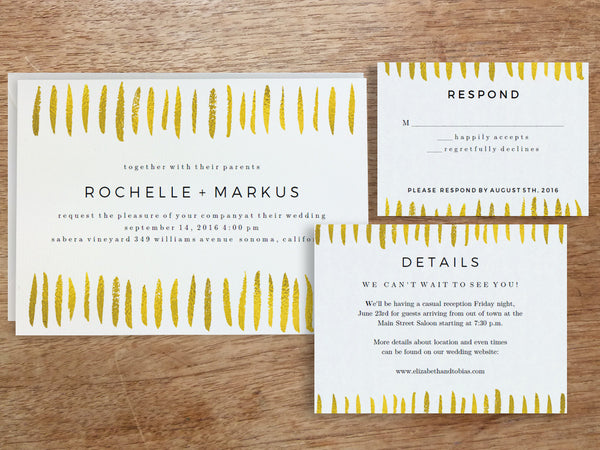 Printable Wedding Invitation Set - Gold Strokes