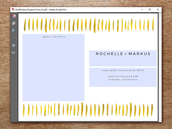 Printable Wedding Program - Gold Strokes