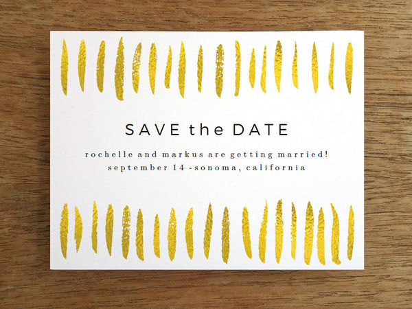 Printable Save the Date - Gold Paint Strokes