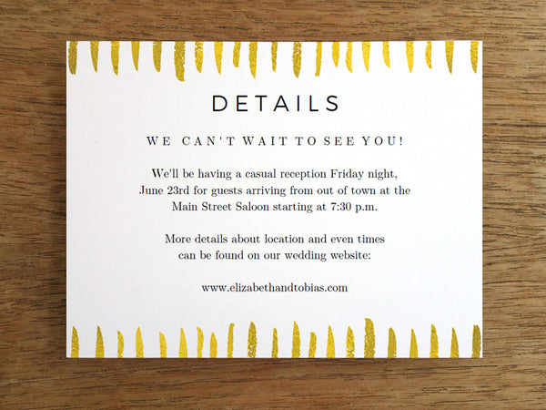 Printable Wedding Information Card - Gold Strokes