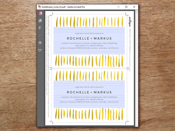 Printable Wedding Invitation - Gold Strokes