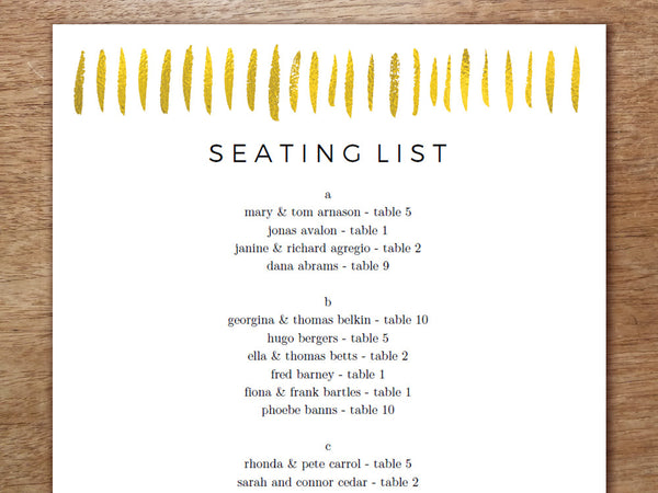 Printable Wedding Seating Sign - Gold Strokes
