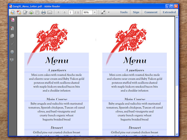 Printable Wedding Menu - Gong Xi