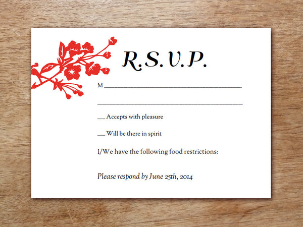 Printable Wedding RSVP Card - Gong Xi