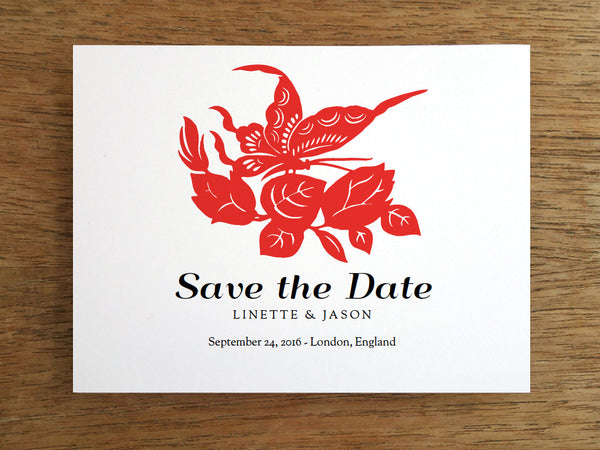 Printable Save the Date Card - Red Chinese Paper Art