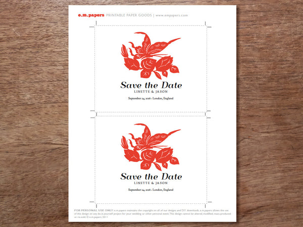 Printable Save the Date - Gong Xi
