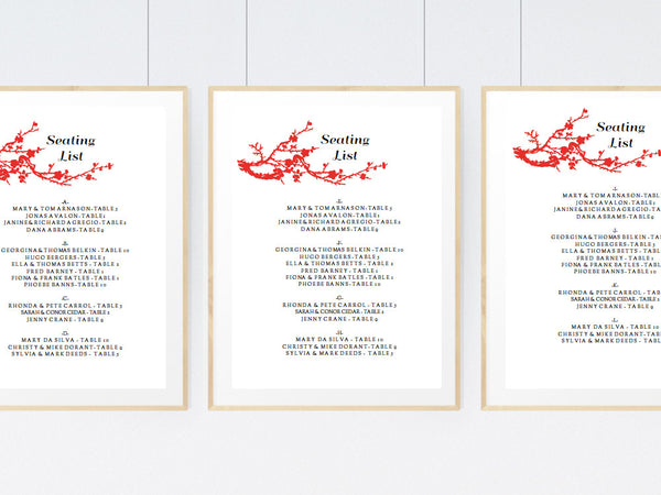 Printable Wedding Seating Sign - Gong Xi