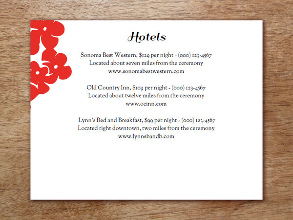 Printable Wedding Information Card - Gong Xi