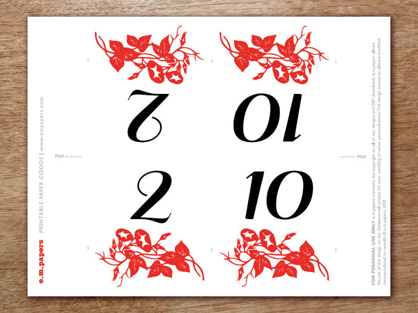 Printable Table Number - Gong Xi