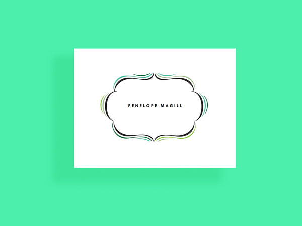 Printable notecard - modern vintage frame - cartouche - sea foam - green and black - e.m.papers