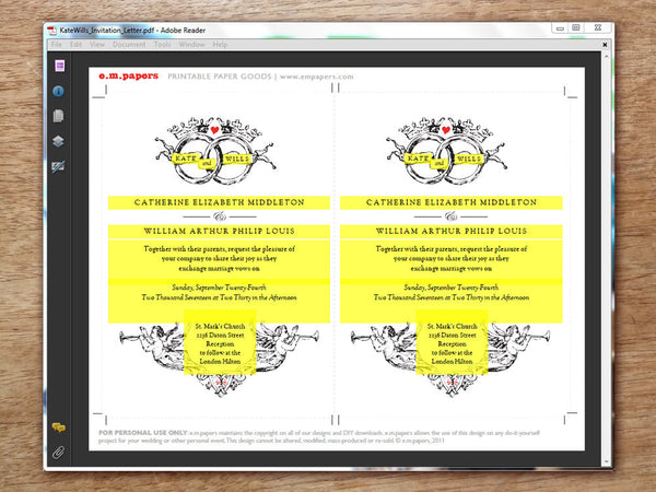 Printable Wedding Invitation PDF Template - Kate & Wills