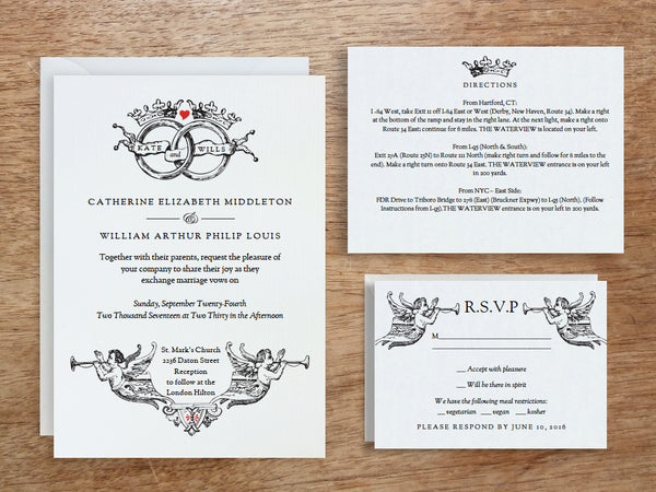 Printable Invitation Set - Vintage Wedding Rings