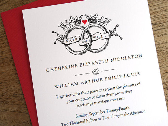 Printable Wedding Invitation - Vintage Wedding Rings and Crowns