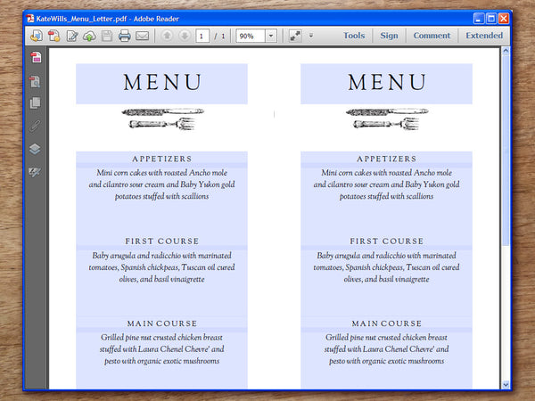 Printable Wedding Menu - Kate and Wills